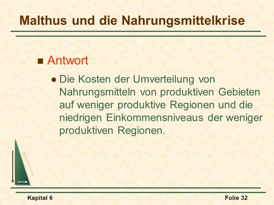 Kapital 6Folie 32 Malthus und die Nahrungsmittelkrise Antwort Die Kosten der Umverteilung von Nahrungsmitteln von produktiven Gebieten auf weniger pro