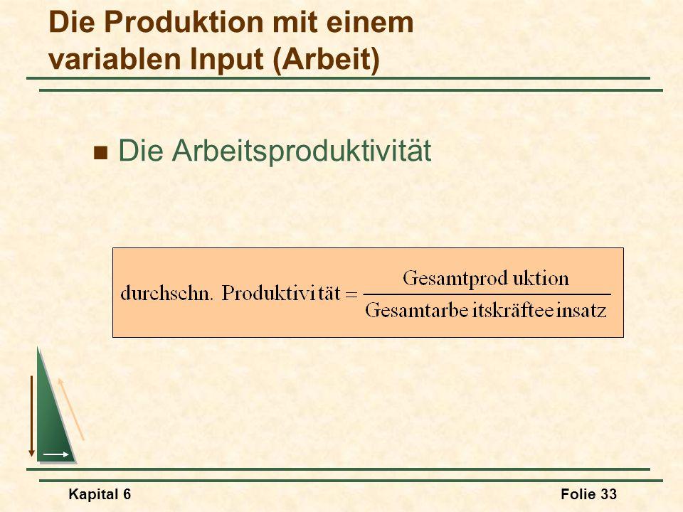 Kapital 6Folie 33 Die Arbeitsproduktivität Die Produktion mit einem variablen Input (Arbeit)