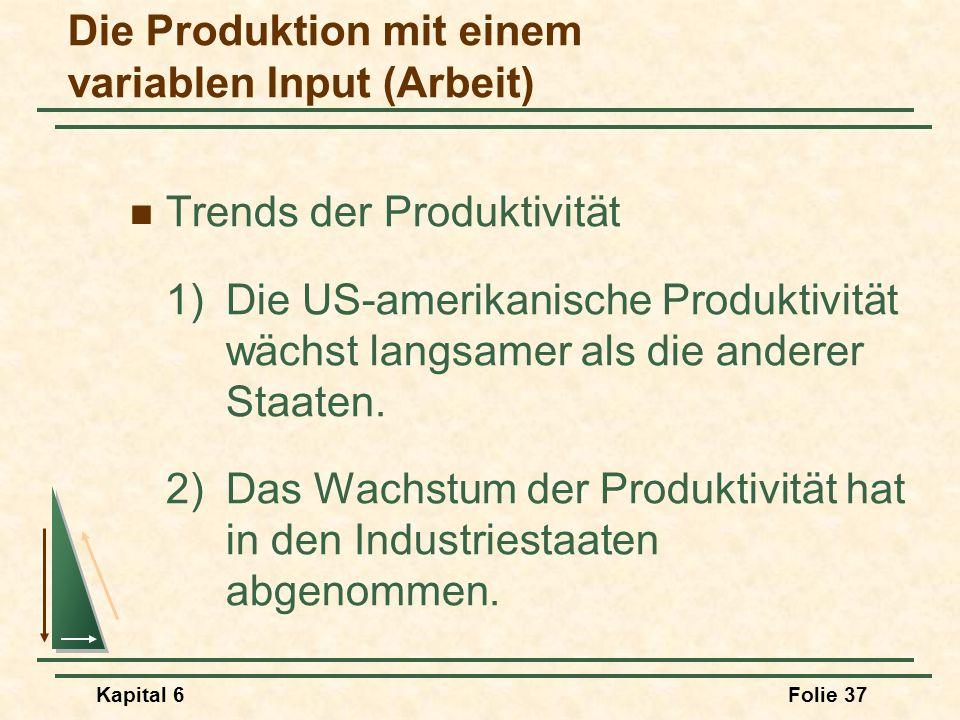 Kapital 6Folie 37 Trends der Produktivität 1) Die US-amerikanische Produktivität wächst langsamer als die anderer Staaten. 2)Das Wachstum der Produkti