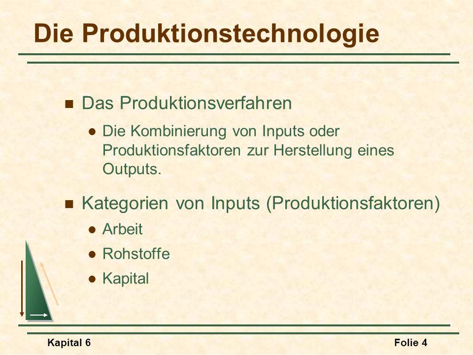 Kapital 6Folie 4 Die Produktionstechnologie Das Produktionsverfahren Die Kombinierung von Inputs oder Produktionsfaktoren zur Herstellung eines Output