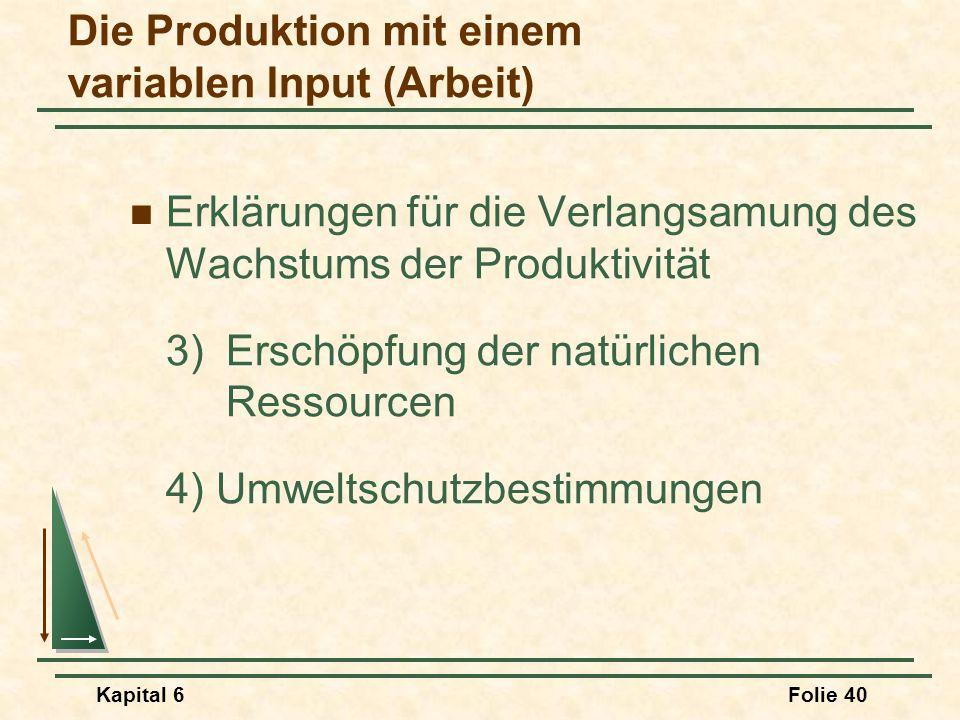 Kapital 6Folie 40 Erklärungen für die Verlangsamung des Wachstums der Produktivität 3)Erschöpfung der natürlichen Ressourcen 4) Umweltschutzbestimmung