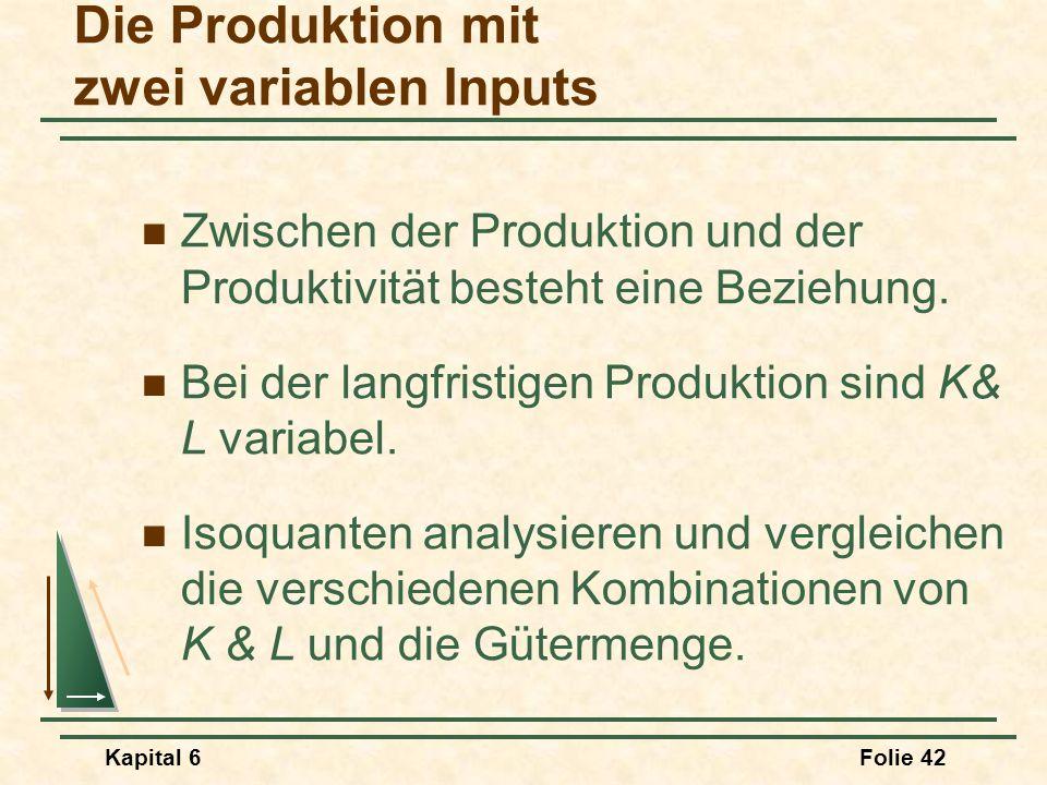 Kapital 6Folie 42 Die Produktion mit zwei variablen Inputs Zwischen der Produktion und der Produktivität besteht eine Beziehung. Bei der langfristigen