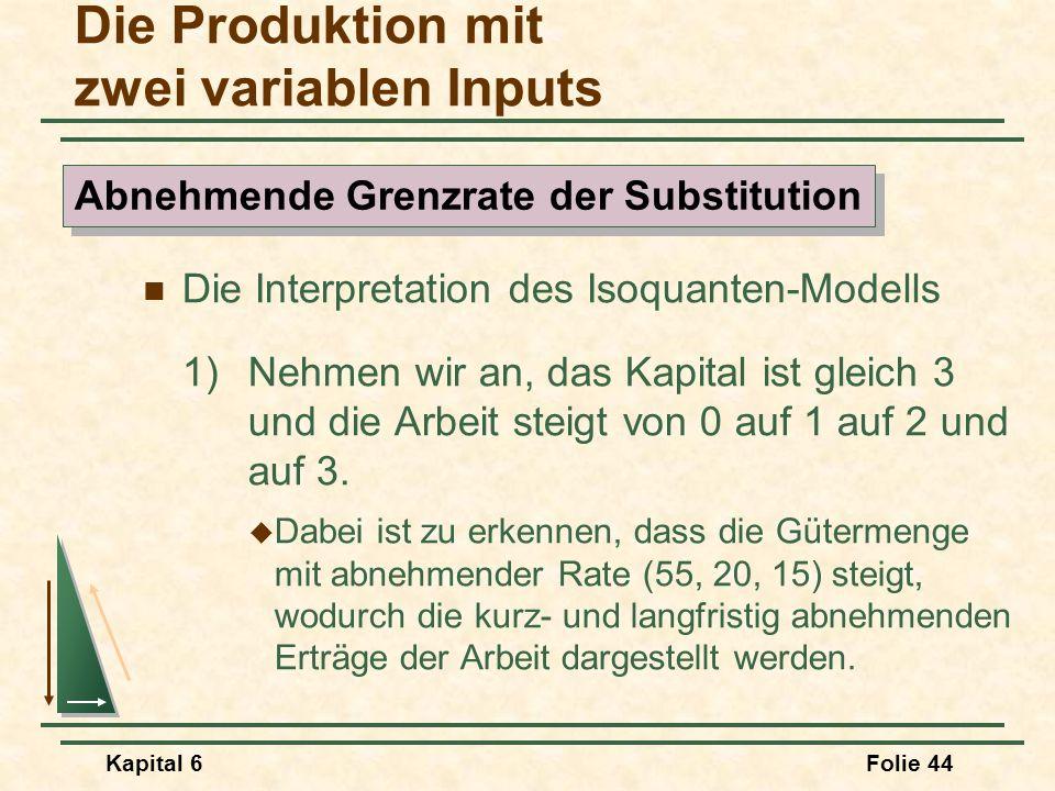Kapital 6Folie 44 Die Interpretation des Isoquanten-Modells 1)Nehmen wir an, das Kapital ist gleich 3 und die Arbeit steigt von 0 auf 1 auf 2 und auf