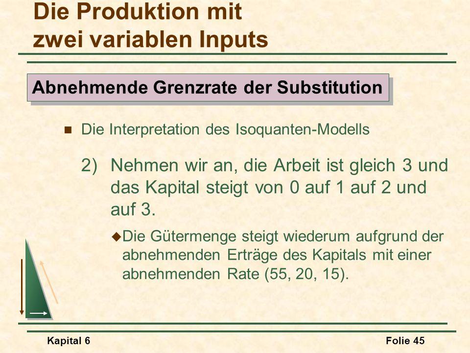 Kapital 6Folie 45 Die Interpretation des Isoquanten-Modells 2)Nehmen wir an, die Arbeit ist gleich 3 und das Kapital steigt von 0 auf 1 auf 2 und auf