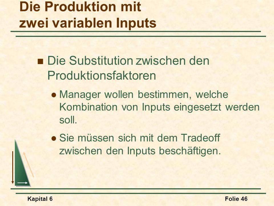 Kapital 6Folie 46 Die Substitution zwischen den Produktionsfaktoren Manager wollen bestimmen, welche Kombination von Inputs eingesetzt werden soll. Si