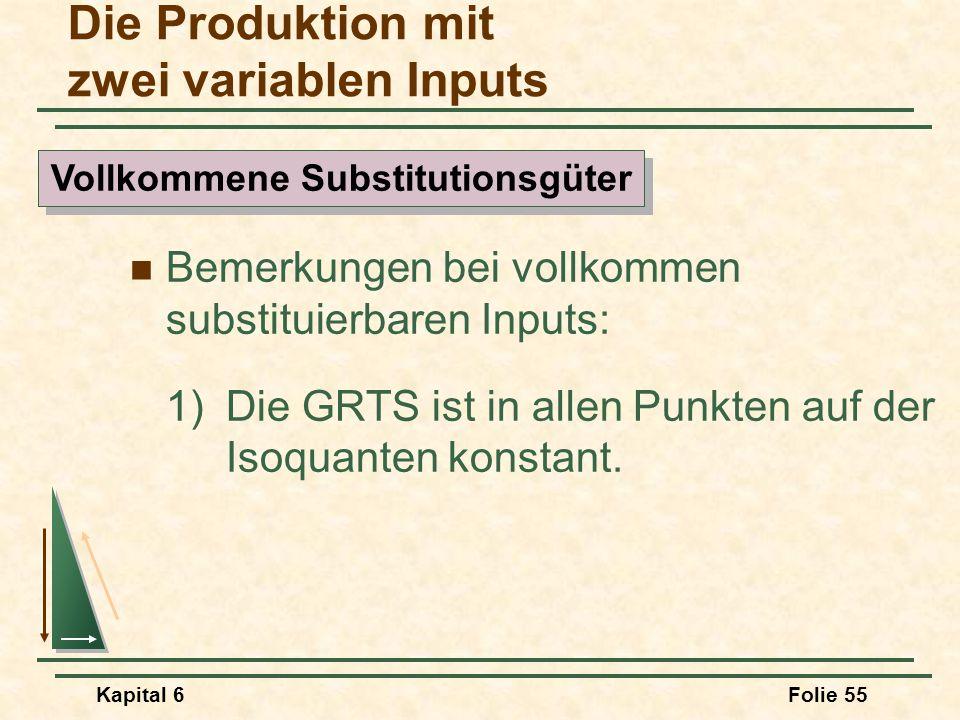Kapital 6Folie 55 Bemerkungen bei vollkommen substituierbaren Inputs: 1)Die GRTS ist in allen Punkten auf der Isoquanten konstant. Die Produktion mit