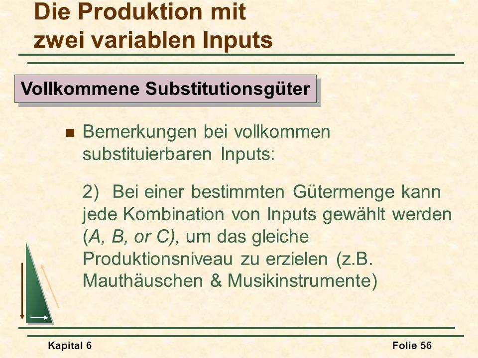 Kapital 6Folie 56 Bemerkungen bei vollkommen substituierbaren Inputs: 2) Bei einer bestimmten Gütermenge kann jede Kombination von Inputs gewählt werd