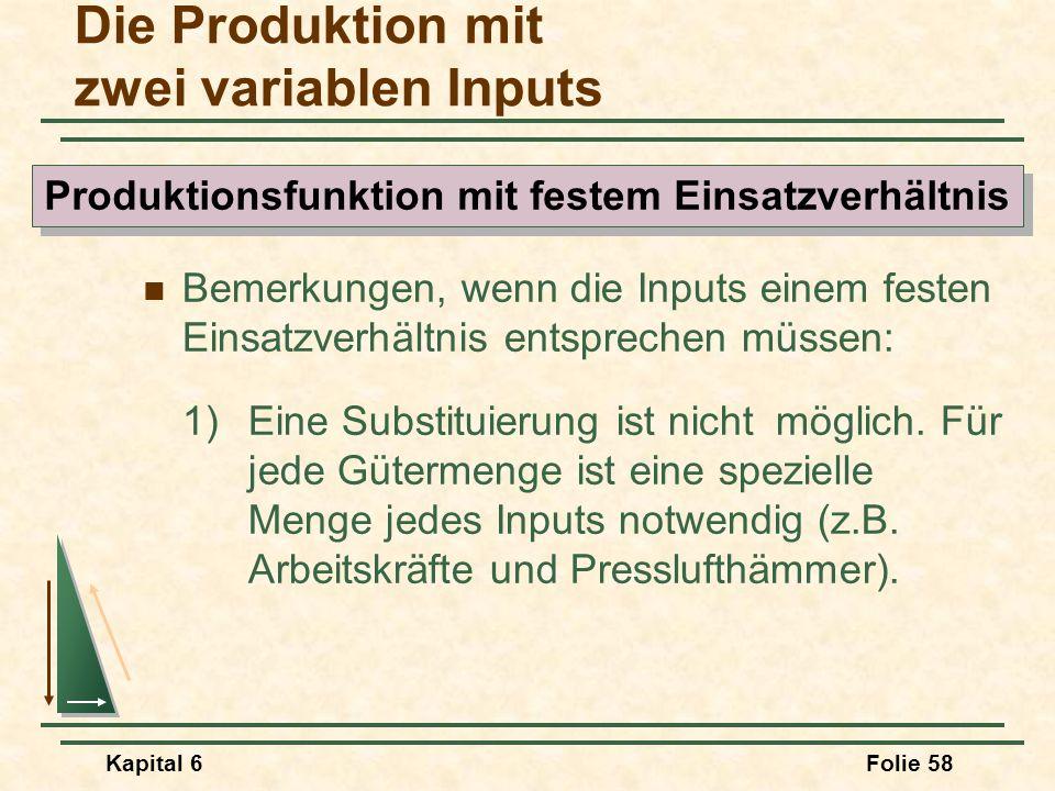 Kapital 6Folie 58 Bemerkungen, wenn die Inputs einem festen Einsatzverhältnis entsprechen müssen: 1)Eine Substituierung ist nicht möglich. Für jede Gü