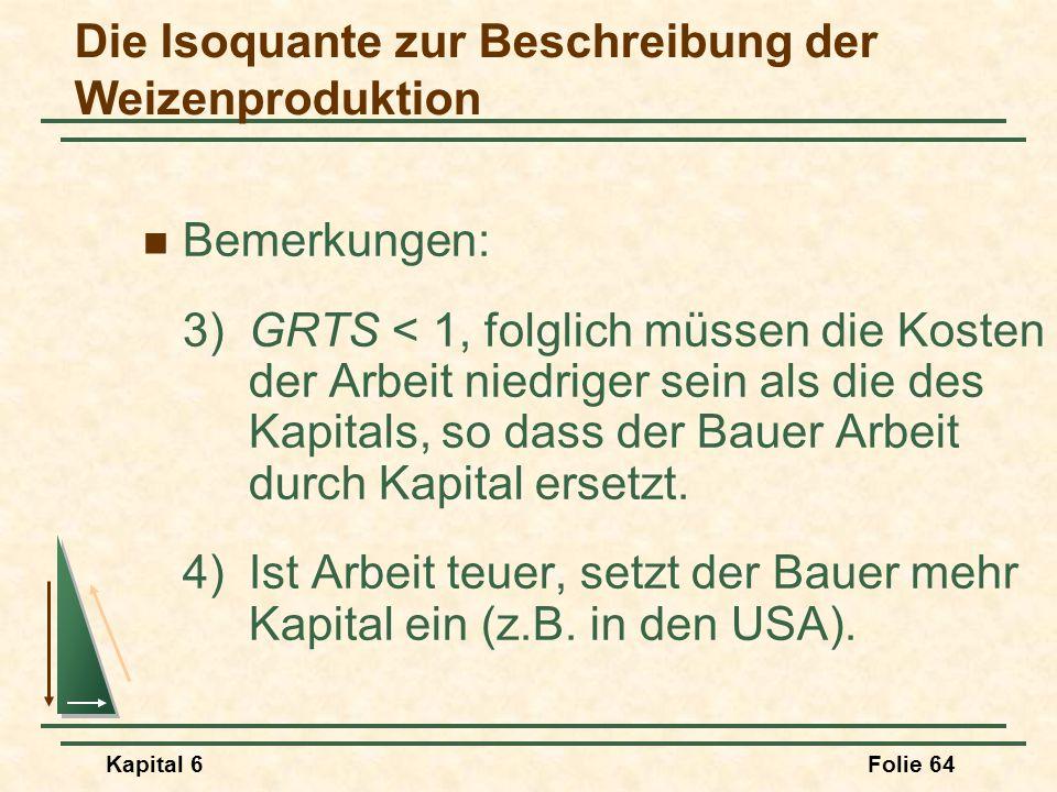 Kapital 6Folie 64 Bemerkungen: 3)GRTS < 1, folglich müssen die Kosten der Arbeit niedriger sein als die des Kapitals, so dass der Bauer Arbeit durch K