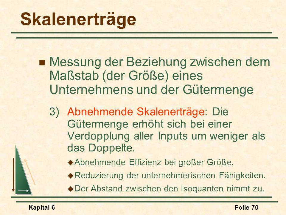 Kapital 6Folie 70 Skalenerträge Messung der Beziehung zwischen dem Maßstab (der Größe) eines Unternehmens und der Gütermenge 3)Abnehmende Skalenerträg
