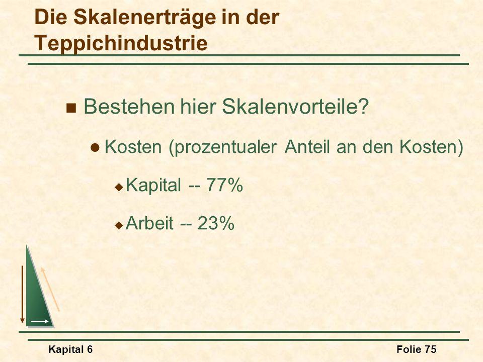 Kapital 6Folie 75 Die Skalenerträge in der Teppichindustrie Bestehen hier Skalenvorteile? Kosten (prozentualer Anteil an den Kosten)  Kapital -- 77%