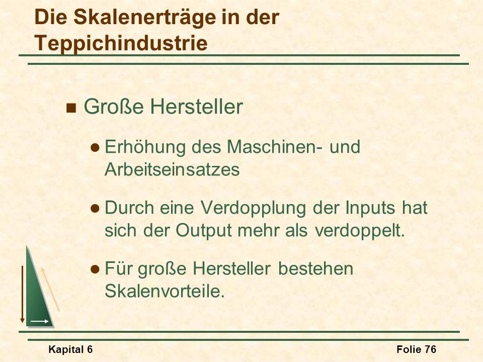 Kapital 6Folie 76 Die Skalenerträge in der Teppichindustrie Große Hersteller Erhöhung des Maschinen- und Arbeitseinsatzes Durch eine Verdopplung der I