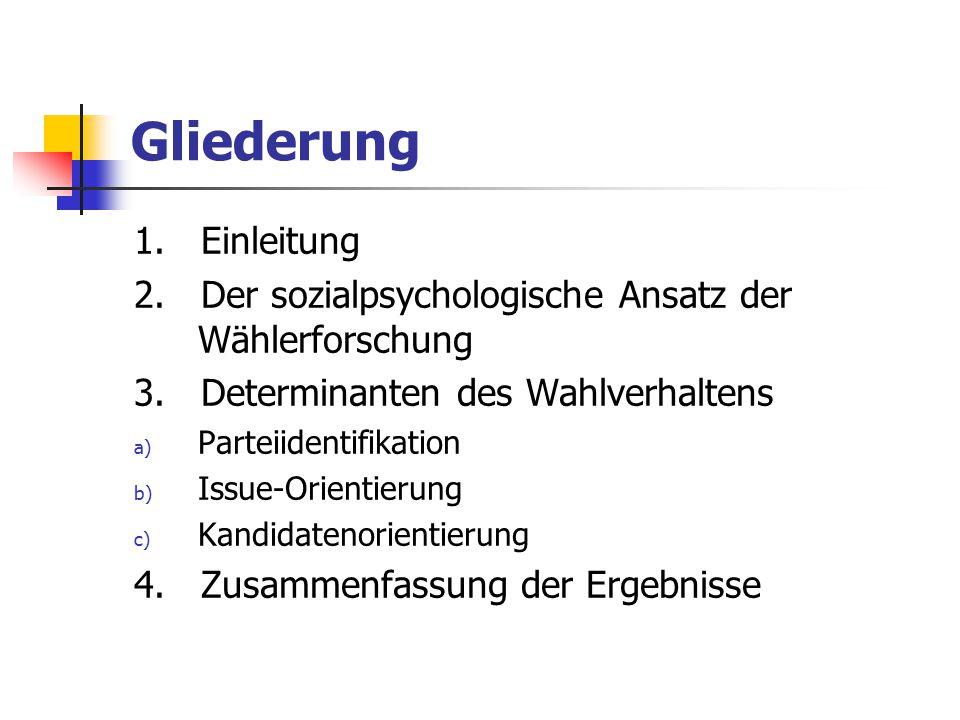 Gliederung 1. Einleitung 2. Der sozialpsychologische Ansatz der Wählerforschung 3. Determinanten des Wahlverhaltens a) Parteiidentifikation b) Issue-O