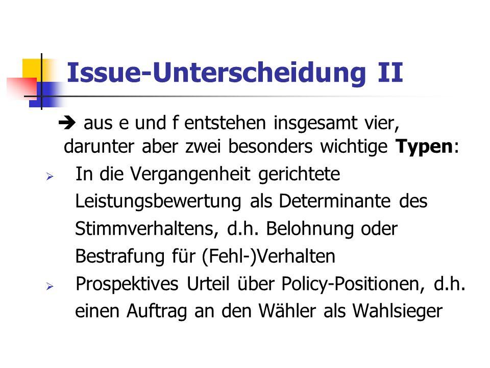 Issue-Unterscheidung II  aus e und f entstehen insgesamt vier, darunter aber zwei besonders wichtige Typen:  In die Vergangenheit gerichtete Leistun