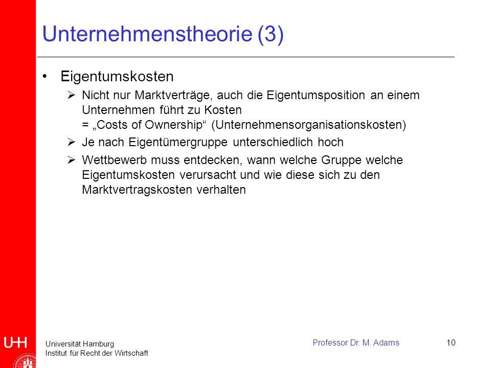 Universität Hamburg Institut für Recht der Wirtschaft Professor Dr. M. Adams10 Unternehmenstheorie (3) Eigentumskosten  Nicht nur Marktverträge, auch