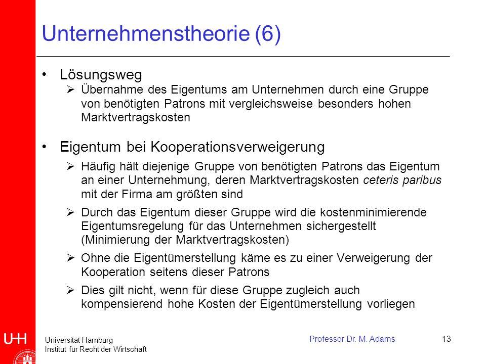 Universität Hamburg Institut für Recht der Wirtschaft Professor Dr. M. Adams13 Unternehmenstheorie (6) Lösungsweg  Übernahme des Eigentums am Unterne