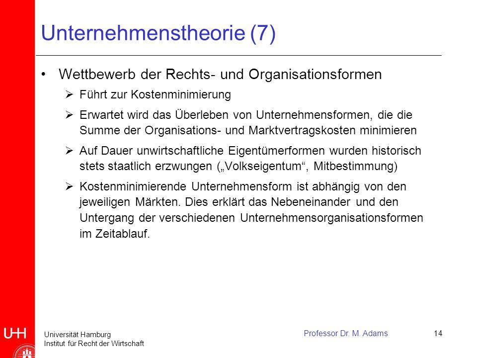 Universität Hamburg Institut für Recht der Wirtschaft Professor Dr. M. Adams14 Unternehmenstheorie (7) Wettbewerb der Rechts- und Organisationsformen