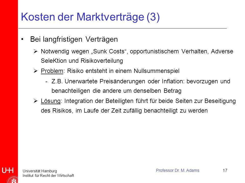 Universität Hamburg Institut für Recht der Wirtschaft Professor Dr. M. Adams17 Kosten der Marktverträge (3) Bei langfristigen Verträgen  Notwendig we