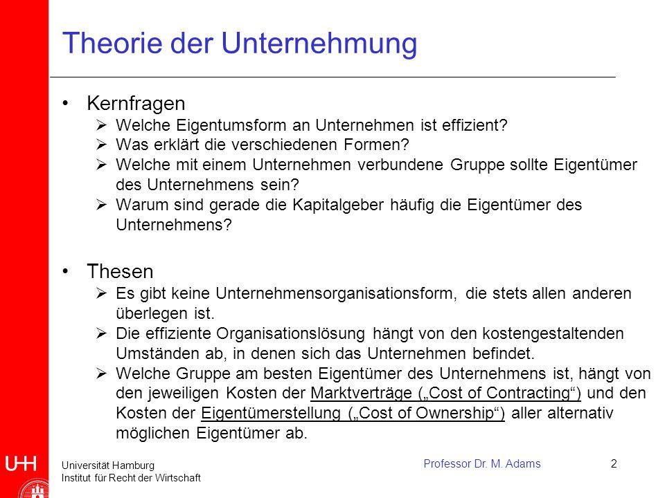 Universität Hamburg Institut für Recht der Wirtschaft Professor Dr. M. Adams2 Theorie der Unternehmung Kernfragen  Welche Eigentumsform an Unternehme