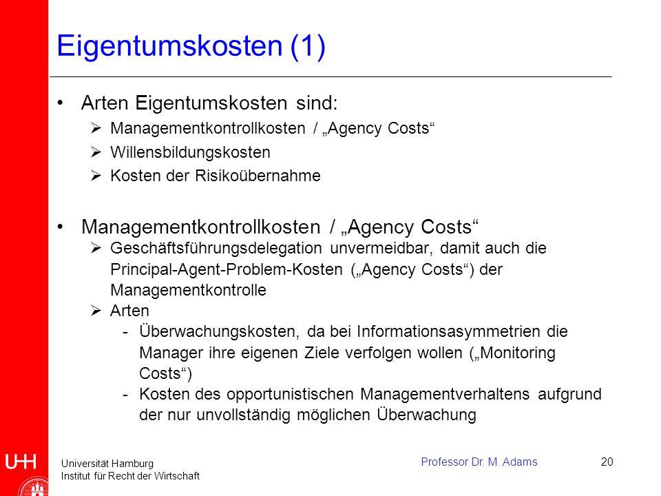Universität Hamburg Institut für Recht der Wirtschaft Professor Dr. M. Adams20 Eigentumskosten (1) Arten Eigentumskosten sind:  Managementkontrollkos