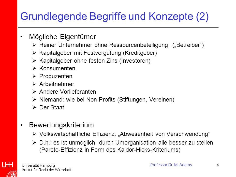 Universität Hamburg Institut für Recht der Wirtschaft Professor Dr. M. Adams4 Grundlegende Begriffe und Konzepte (2) Mögliche Eigentümer  Reiner Unte
