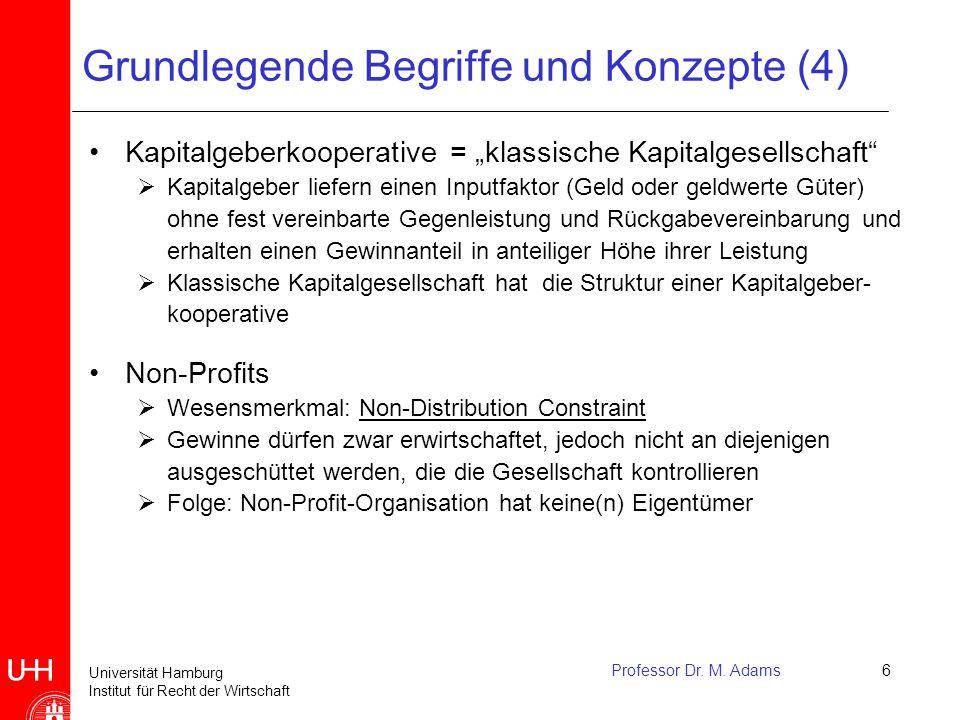 """Universität Hamburg Institut für Recht der Wirtschaft Professor Dr. M. Adams6 Grundlegende Begriffe und Konzepte (4) Kapitalgeberkooperative = """"klassi"""
