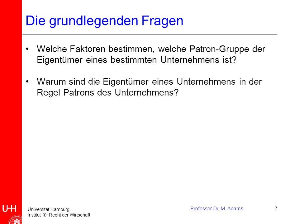 Universität Hamburg Institut für Recht der Wirtschaft Professor Dr. M. Adams7 Die grundlegenden Fragen Welche Faktoren bestimmen, welche Patron-Gruppe