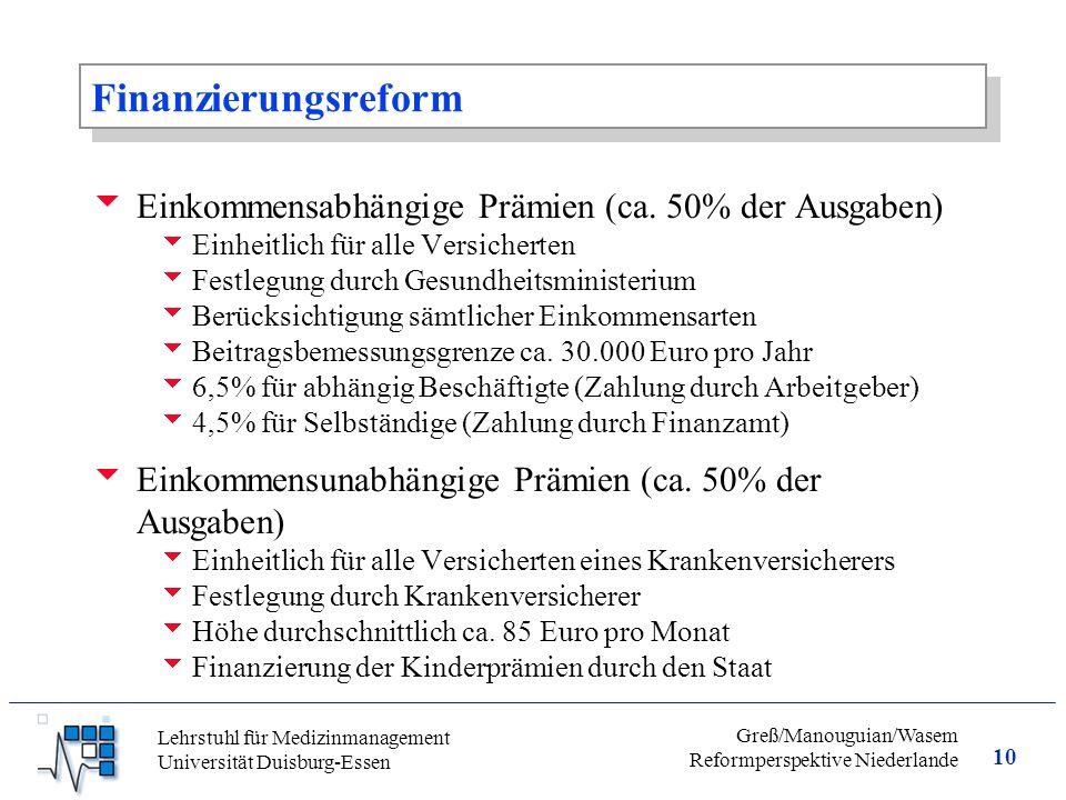 10 Greß/Manouguian/Wasem Reformperspektive Niederlande Lehrstuhl für Medizinmanagement Universität Duisburg-Essen Finanzierungsreform  Einkommensabhängige Prämien (ca.