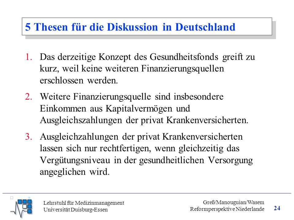 24 Greß/Manouguian/Wasem Reformperspektive Niederlande Lehrstuhl für Medizinmanagement Universität Duisburg-Essen 5 Thesen für die Diskussion in Deutschland 1.Das derzeitige Konzept des Gesundheitsfonds greift zu kurz, weil keine weiteren Finanzierungsquellen erschlossen werden.