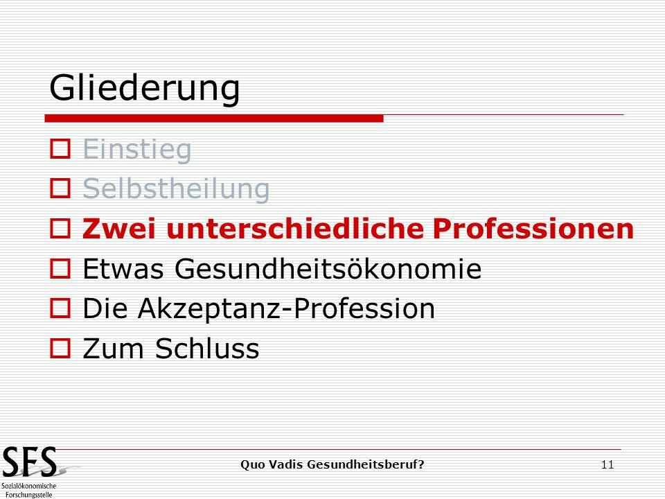 Quo Vadis Gesundheitsberuf 11 Gliederung  Einstieg  Selbstheilung  Zwei unterschiedliche Professionen  Etwas Gesundheitsökonomie  Die Akzeptanz-Profession  Zum Schluss