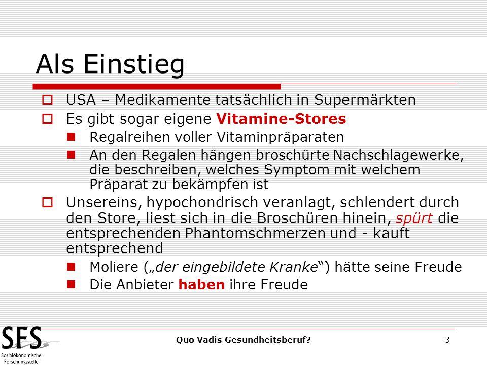 """Quo Vadis Gesundheitsberuf?3 Als Einstieg  USA – Medikamente tatsächlich in Supermärkten  Es gibt sogar eigene Vitamine-Stores Regalreihen voller Vitaminpräparaten An den Regalen hängen broschürte Nachschlagewerke, die beschreiben, welches Symptom mit welchem Präparat zu bekämpfen ist  Unsereins, hypochondrisch veranlagt, schlendert durch den Store, liest sich in die Broschüren hinein, spürt die entsprechenden Phantomschmerzen und - kauft entsprechend Moliere (""""der eingebildete Kranke ) hätte seine Freude Die Anbieter haben ihre Freude"""