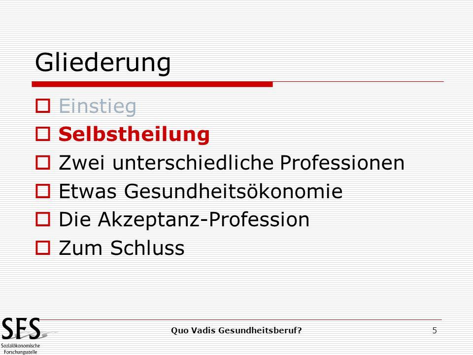 Quo Vadis Gesundheitsberuf 5 Gliederung  Einstieg  Selbstheilung  Zwei unterschiedliche Professionen  Etwas Gesundheitsökonomie  Die Akzeptanz-Profession  Zum Schluss