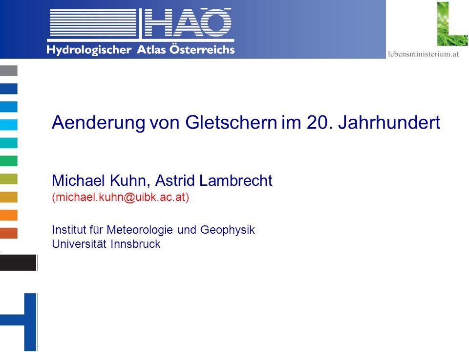 Copyright, 2002 © Josef Fürst Aenderung von Gletschern im 20.