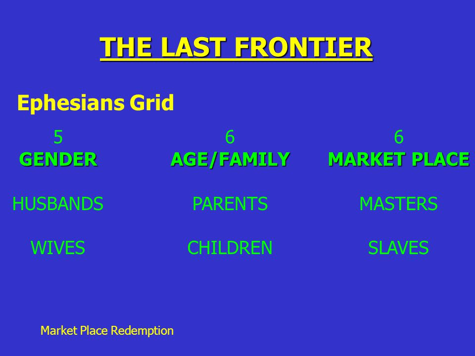 Market Place Redemption THE LAST FRONTIER Ephesians Grid 5GENDER HUSBANDS WIVES 6AGE/FAMILY PARENTS CHILDREN 6 MARKET PLACE MASTERS SLAVES