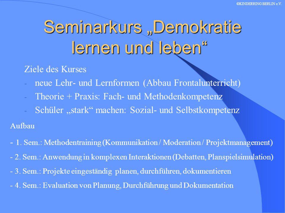 """Seminarkurs """"Demokratie lernen und leben Allgemeines: - 1./2."""