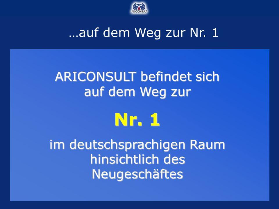 …auf dem Weg zur Nr. 1 ARICONSULT befindet sich auf dem Weg zur Nr. 1 im deutschsprachigen Raum hinsichtlich des Neugeschäftes