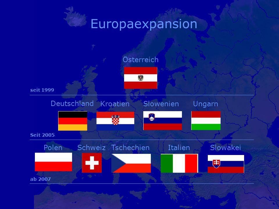 Österreich Ungarn Schweiz SlowenienKroatien PolenTschechienItalienSlowakei seit 1999 Seit 2005 ab 2007 Deutschland Europaexpansion
