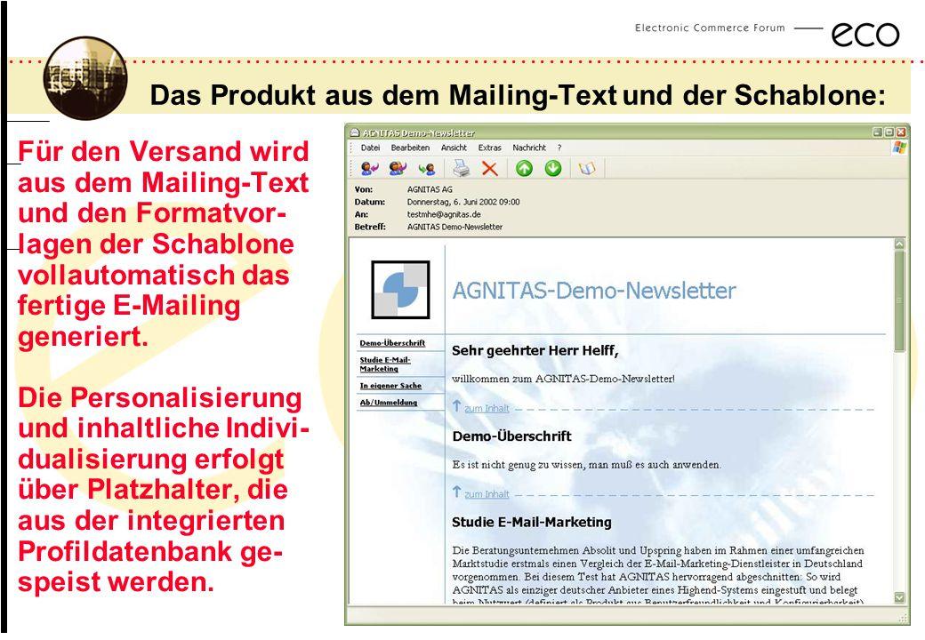 ................................................................................................. a Das Produkt aus dem Mailing-Text und der Schablone