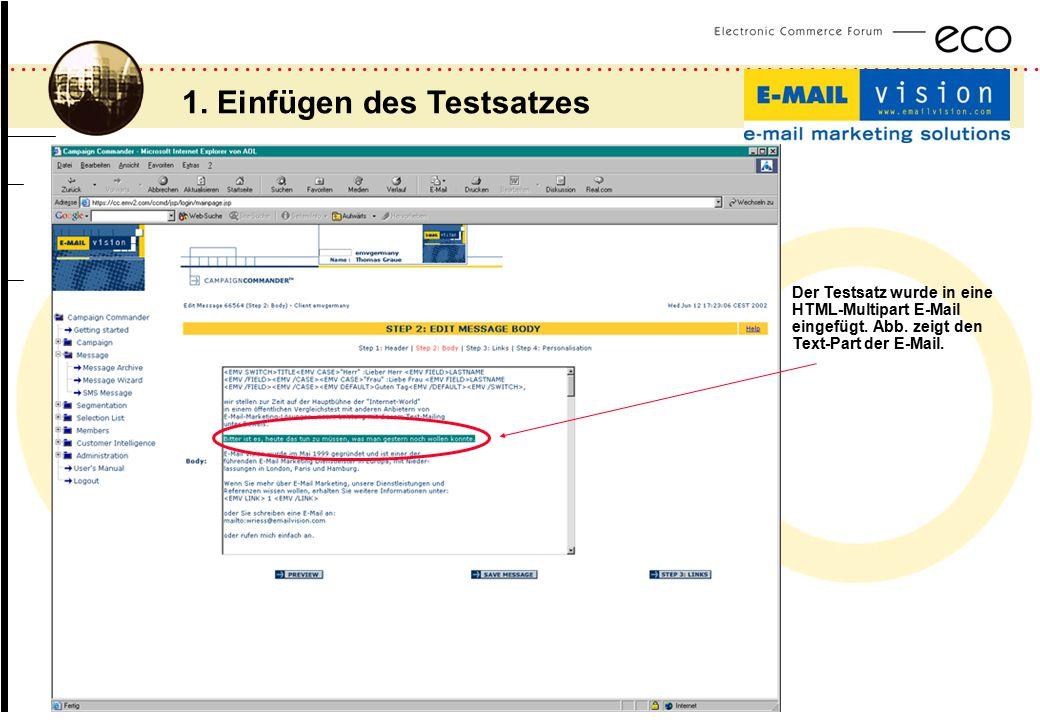 ................................................................................................. a Der Testsatz wurde in eine HTML-Multipart E-Mail e