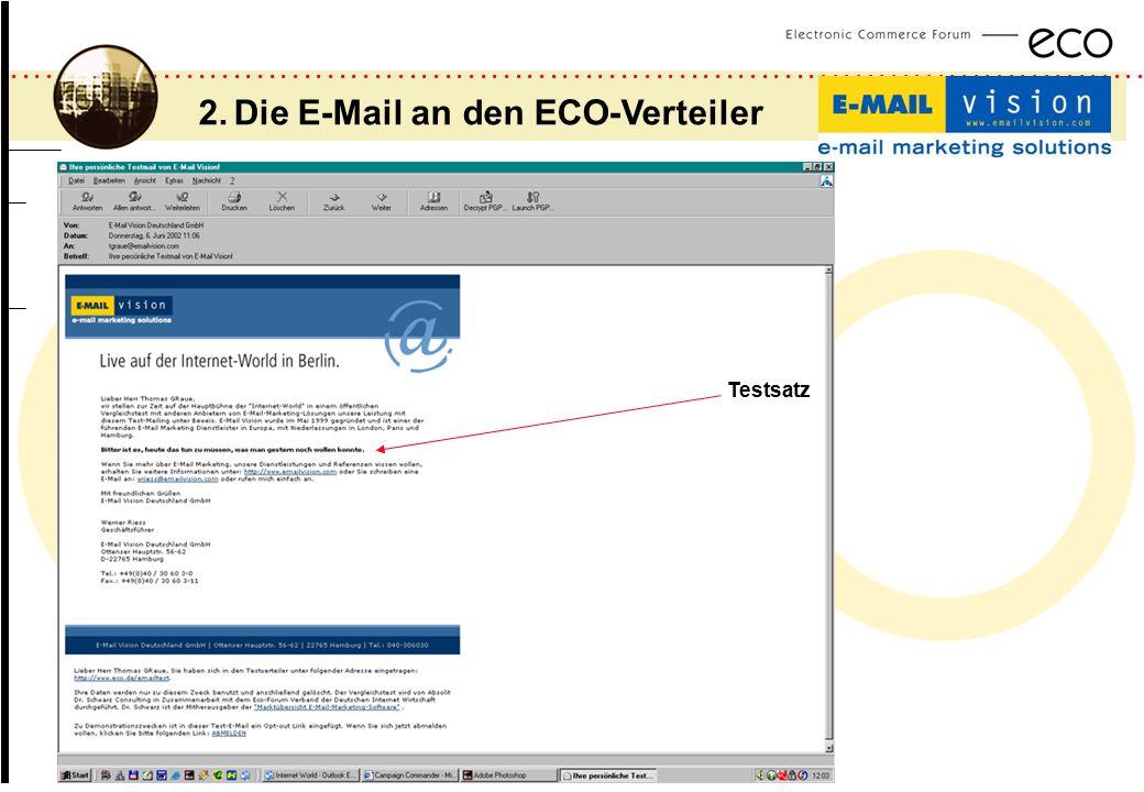................................................................................................. a 2. Die E-Mail an den ECO-Verteiler Testsatz