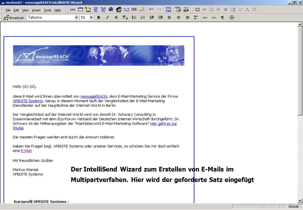 ................................................................................................. a Der IntelliSend Wizard zum Erstellen von E-Mails i