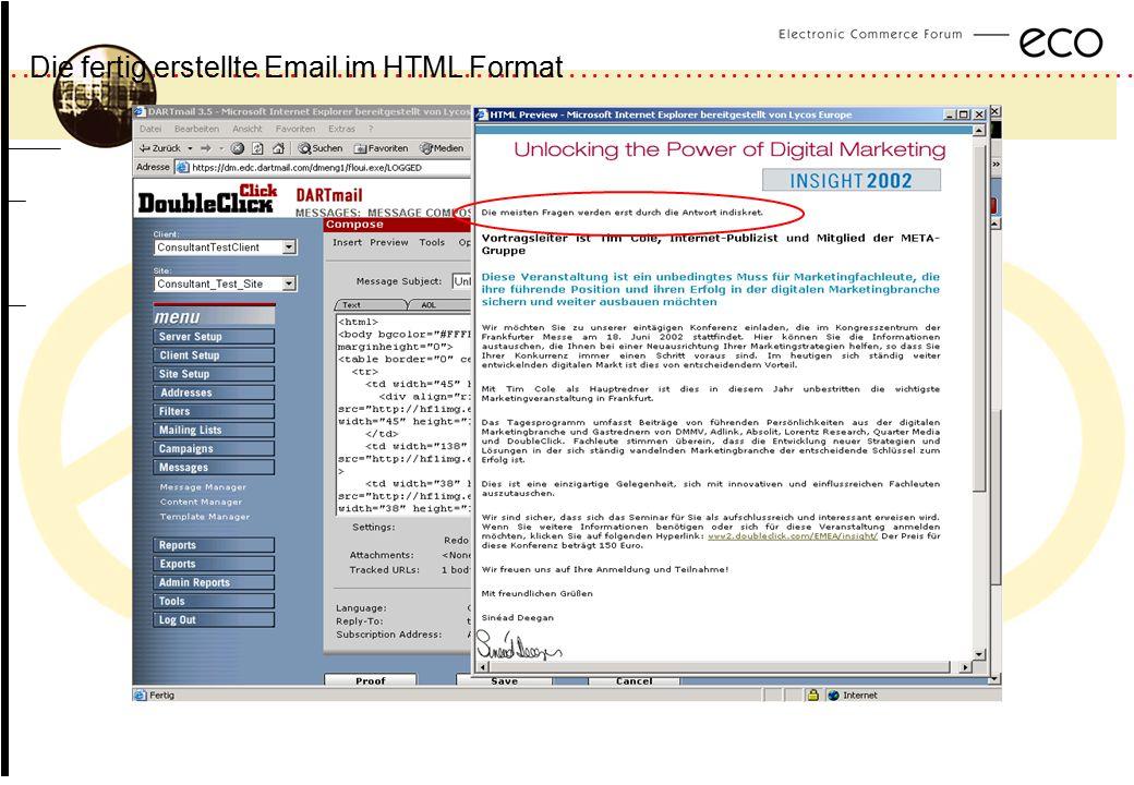 ................................................................................................. a Die fertig erstellte Email im HTML Format