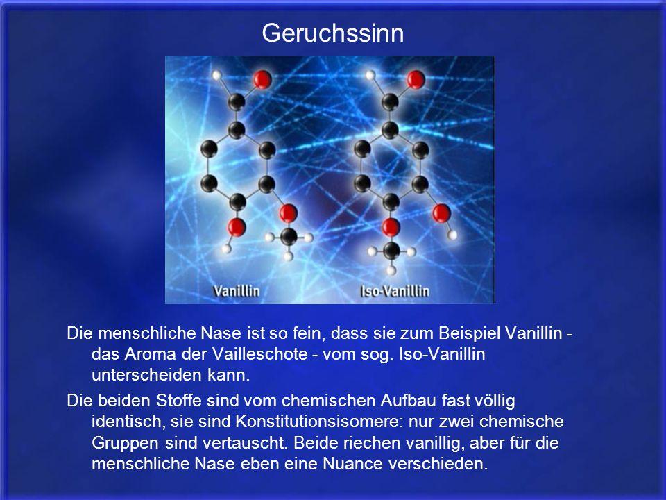 Geruchssinn Die menschliche Nase ist so fein, dass sie zum Beispiel Vanillin - das Aroma der Vailleschote - vom sog. Iso-Vanillin unterscheiden kann.