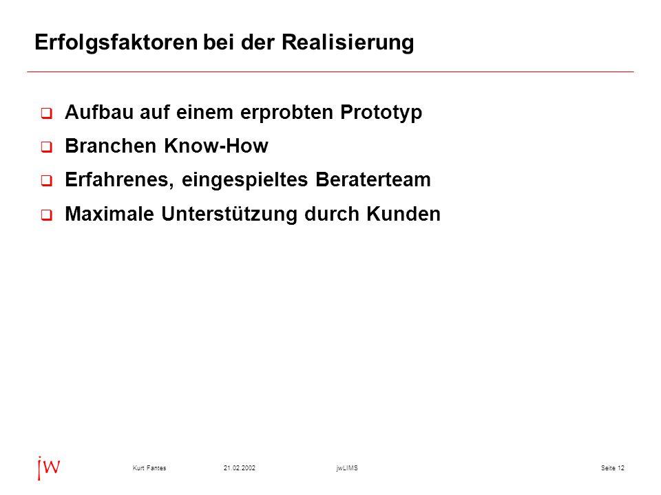 Seite 1221.02.2002Kurt FantesjwLIMS jw Erfolgsfaktoren bei der Realisierung  Aufbau auf einem erprobten Prototyp  Branchen Know-How  Erfahrenes, ei