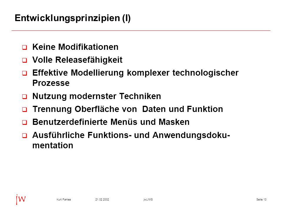 Seite 1321.02.2002Kurt FantesjwLIMS jw Entwicklungsprinzipien (I)  Keine Modifikationen  Volle Releasefähigkeit  Effektive Modellierung komplexer t