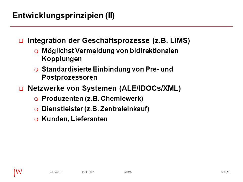 Seite 1421.02.2002Kurt FantesjwLIMS jw Entwicklungsprinzipien (II)  Integration der Geschäftsprozesse (z.B. LIMS)  Möglichst Vermeidung von bidirekt