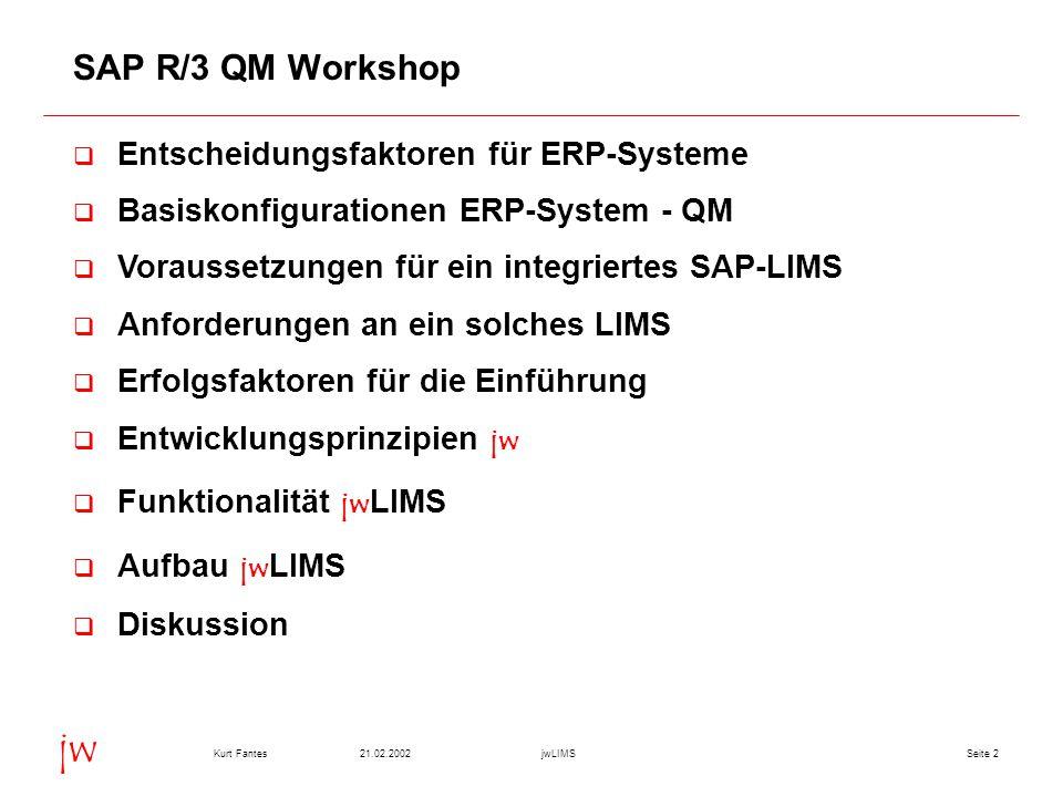 Seite 221.02.2002Kurt FantesjwLIMS jw SAP R/3 QM Workshop q Entscheidungsfaktoren für ERP-Systeme q Basiskonfigurationen ERP-System - QM q Voraussetzungen für ein integriertes SAP-LIMS q Anforderungen an ein solches LIMS q Erfolgsfaktoren für die Einführung  Entwicklungsprinzipien jw  Funktionalität jw LIMS  Aufbau jw LIMS q Diskussion