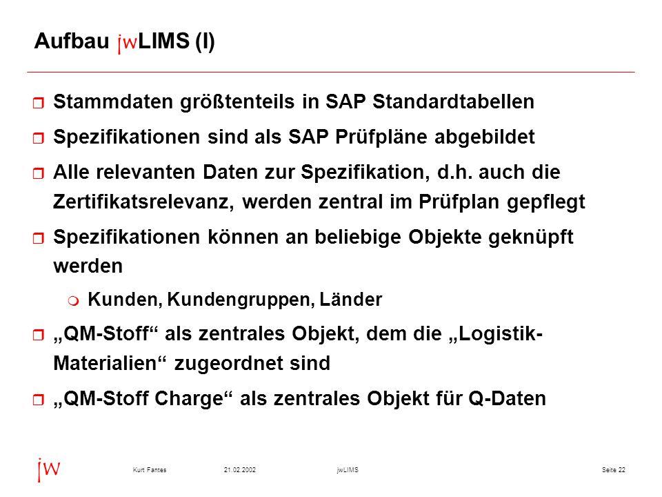 Seite 2221.02.2002Kurt FantesjwLIMS jw Aufbau jwLIMS (I) r Stammdaten größtenteils in SAP Standardtabellen r Spezifikationen sind als SAP Prüfpläne ab