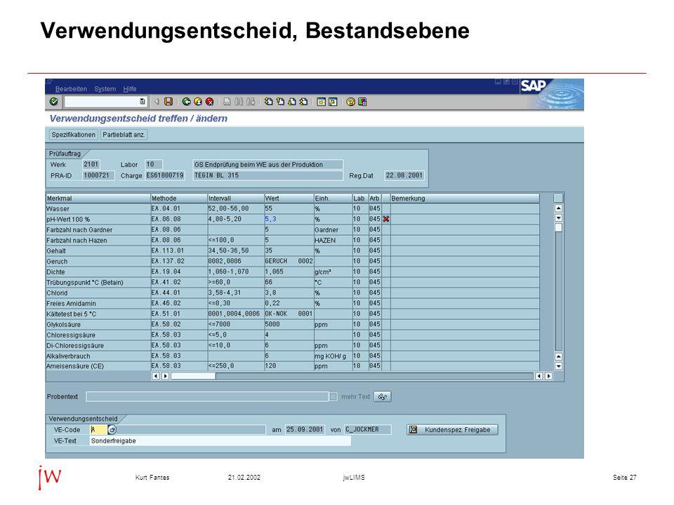 Seite 2721.02.2002Kurt FantesjwLIMS jw Verwendungsentscheid, Bestandsebene
