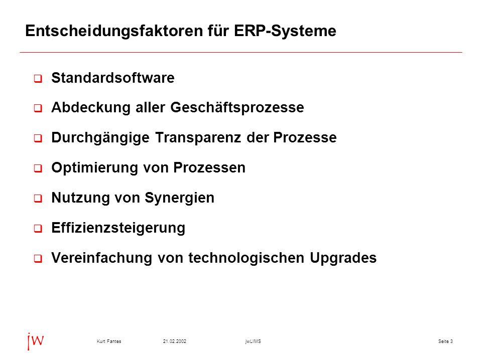Seite 321.02.2002Kurt FantesjwLIMS jw Entscheidungsfaktoren für ERP-Systeme q Standardsoftware q Abdeckung aller Geschäftsprozesse q Durchgängige Tran